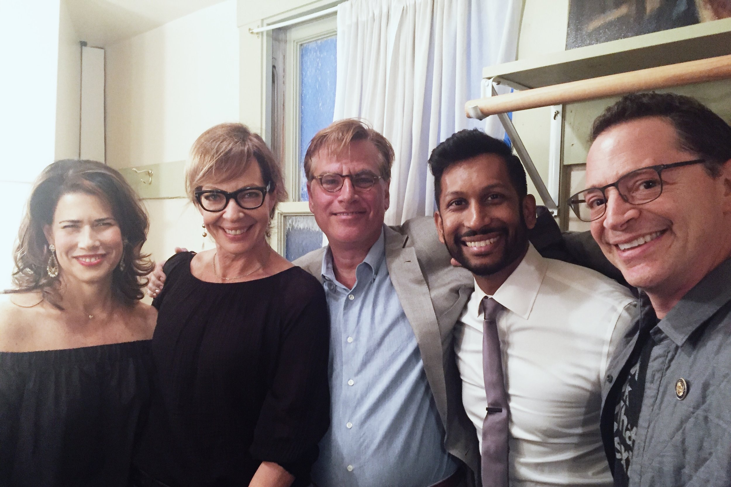Melissa Fitzgerald, Allison Janney, Aaron Sorkin, Hrishi, and Josh, backstage at the Castro before our taping began.