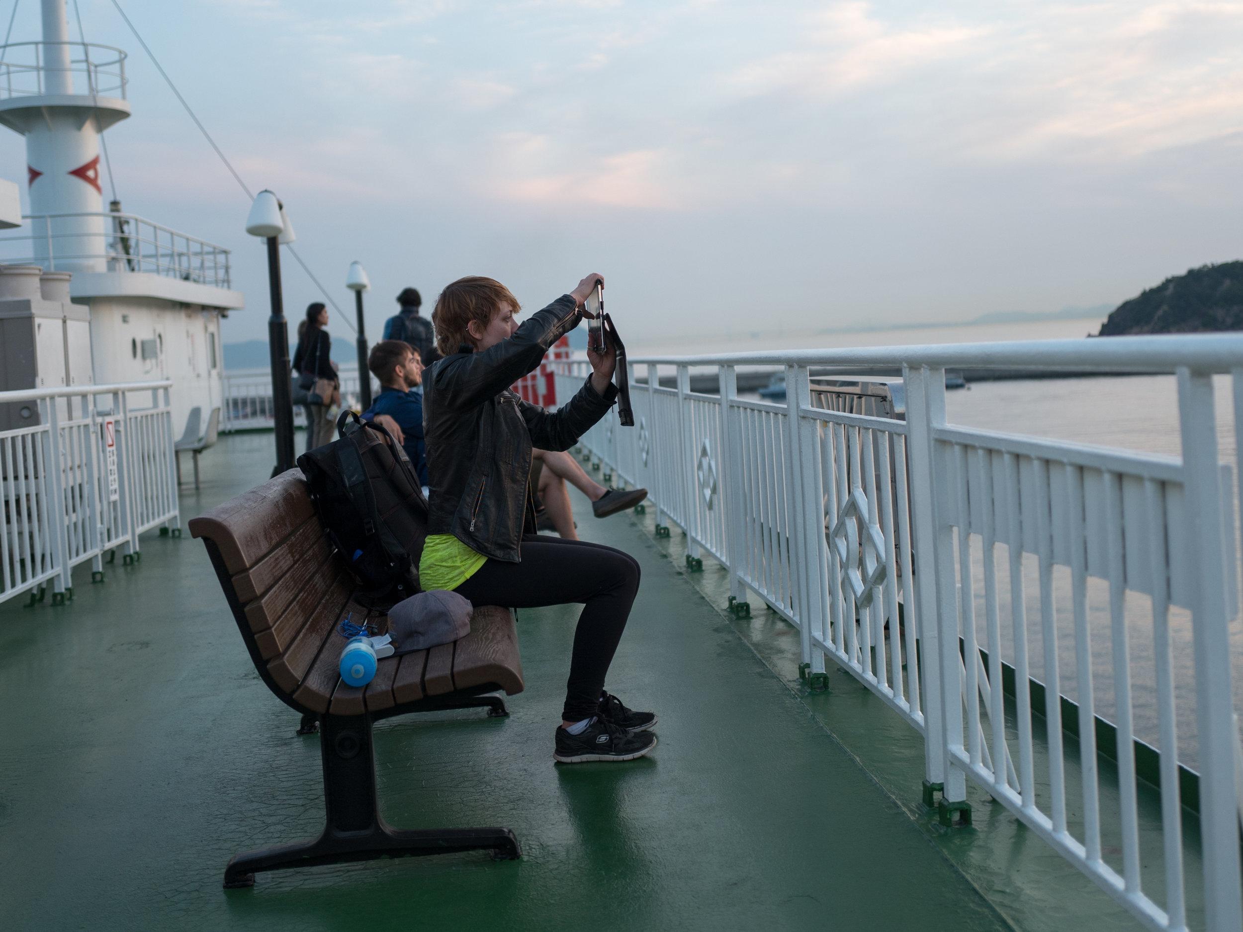 Naoshima Ferry - I fucking love watching sunsets through screens.