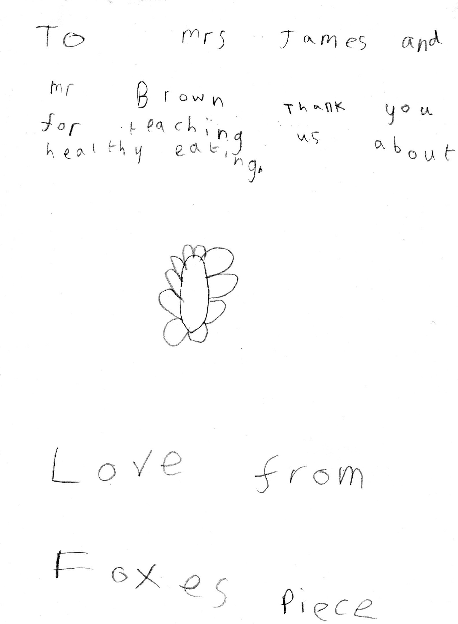 Foxes Piece thank you card from children inside.jpg