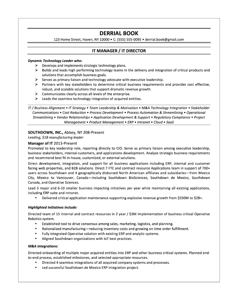 IT Manager Sample Resume – Derrial Book
