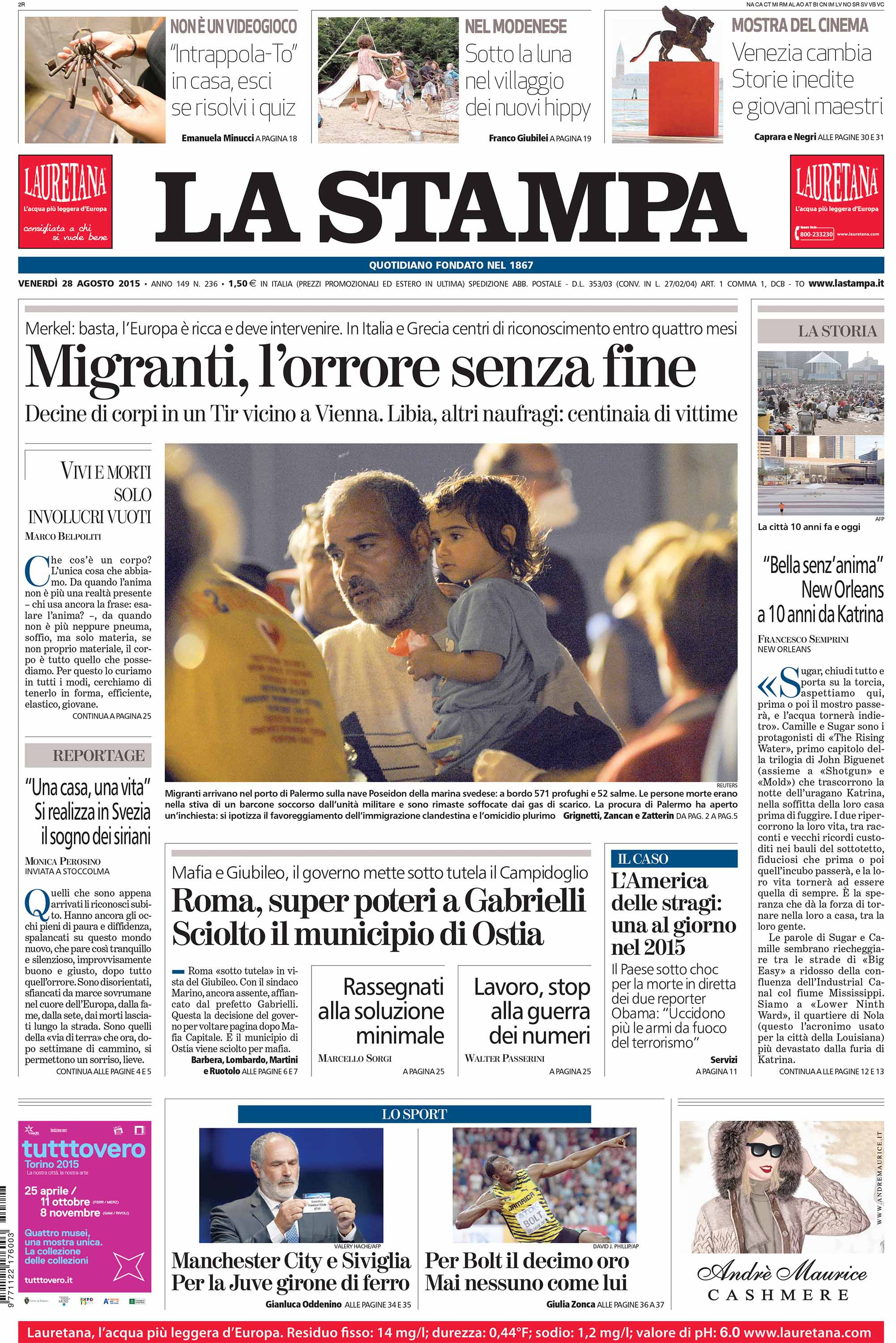 La Stampa — August 28, 2015