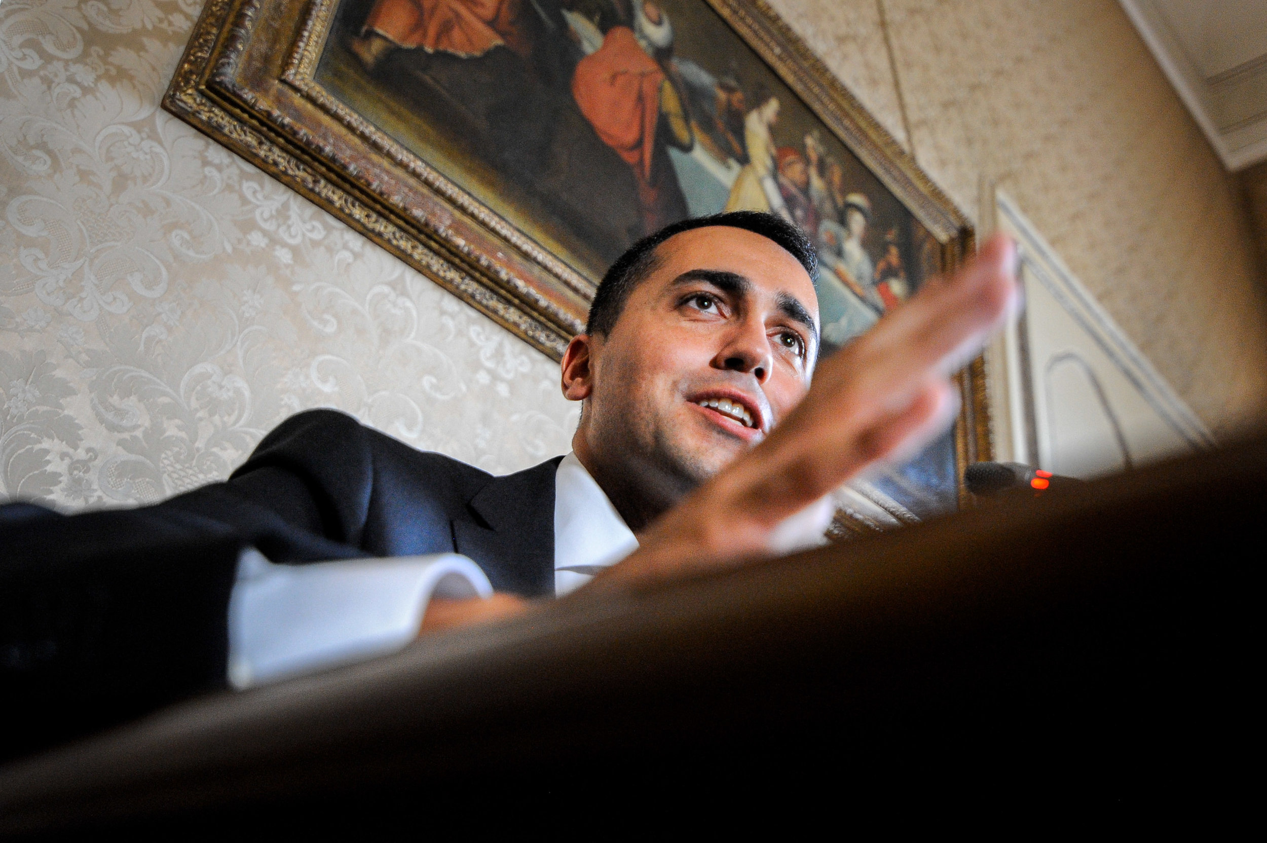Luigi Di Maio of 5-Star Movement gestures as he speaks during a news conference in Palermo, Italy, October 2, 2017.