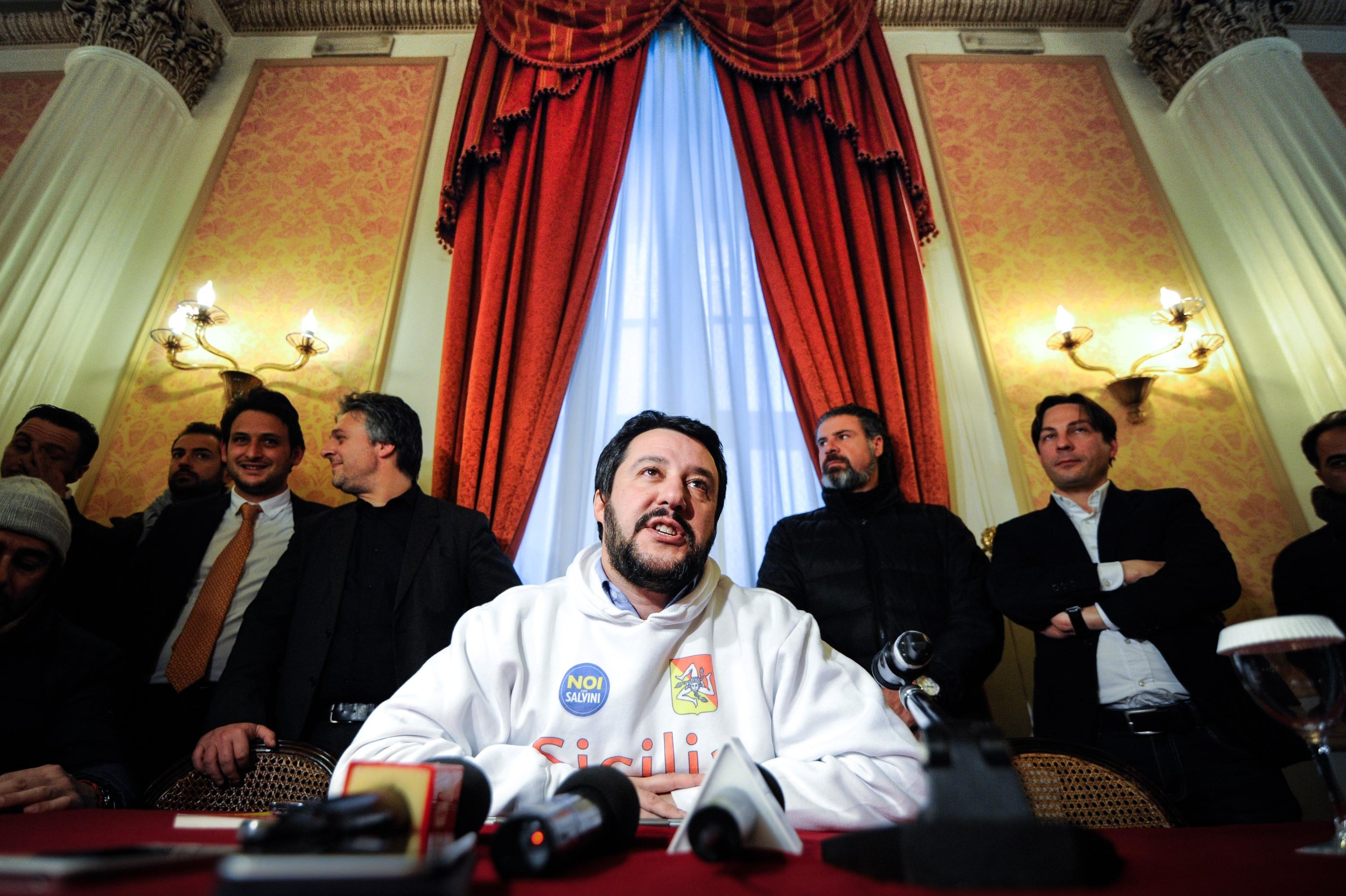 Northern League's leader Matteo Salvini speaks during a press conference in Palermo, Italy, February 8, 2015.