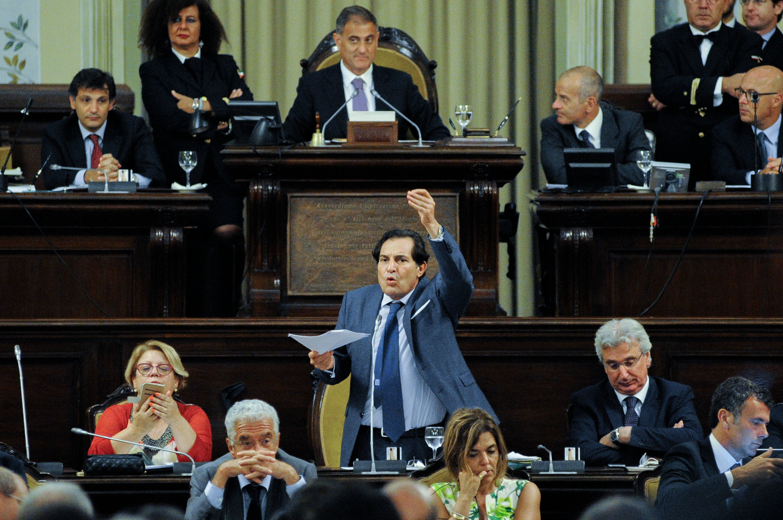 Governor of Sicily Rosario Crocetta speaks in the Sicilian Parliament for the first time after the scandal generated by a story published by the magazine L'Espresso in Palermo, Italy, July 23, 2015.