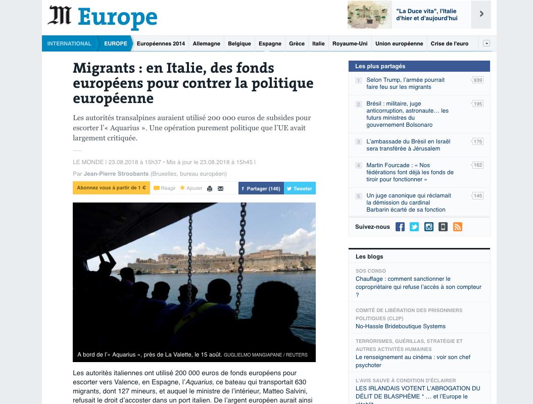 Le Monde — August 23, 2018