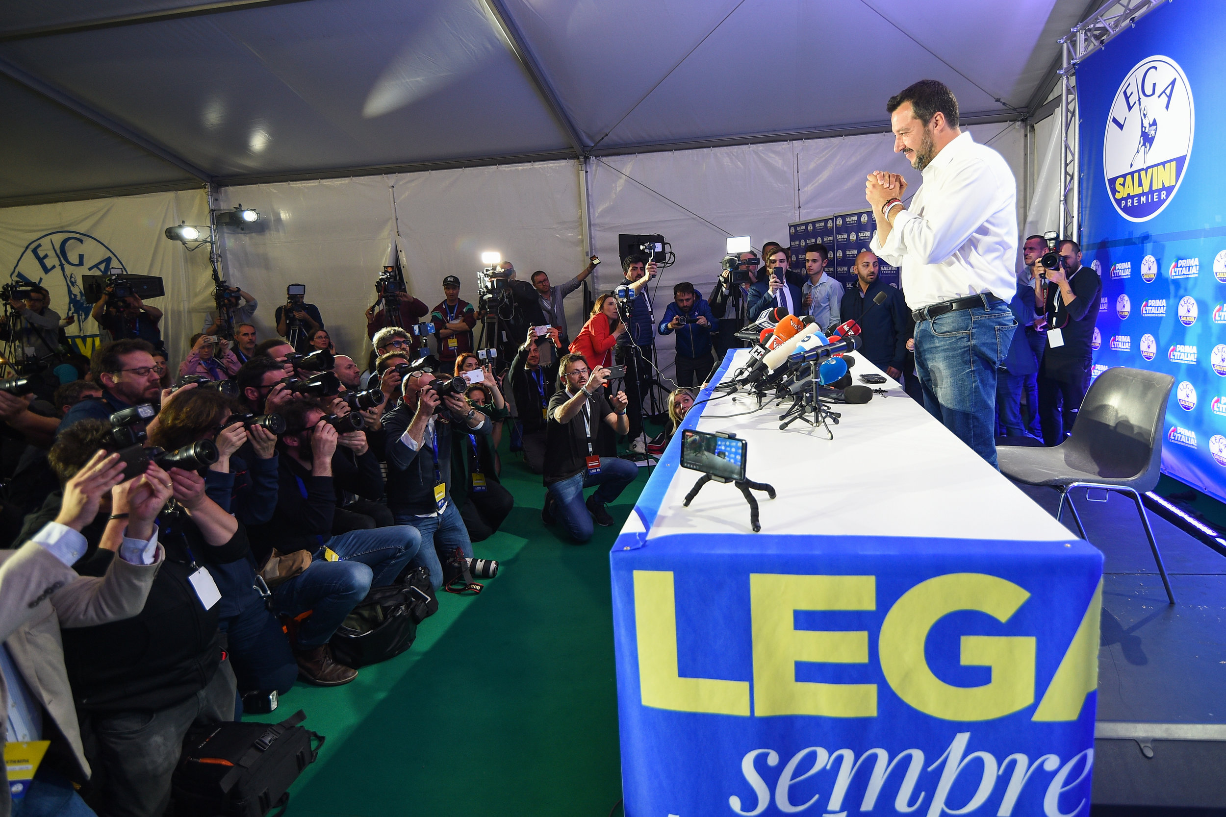 Italian Deputy Prime Minister and leader of far-right League party Matteo Salvini gestures during his European Parliament election night event in Milan, Italy, May 27, 2019.