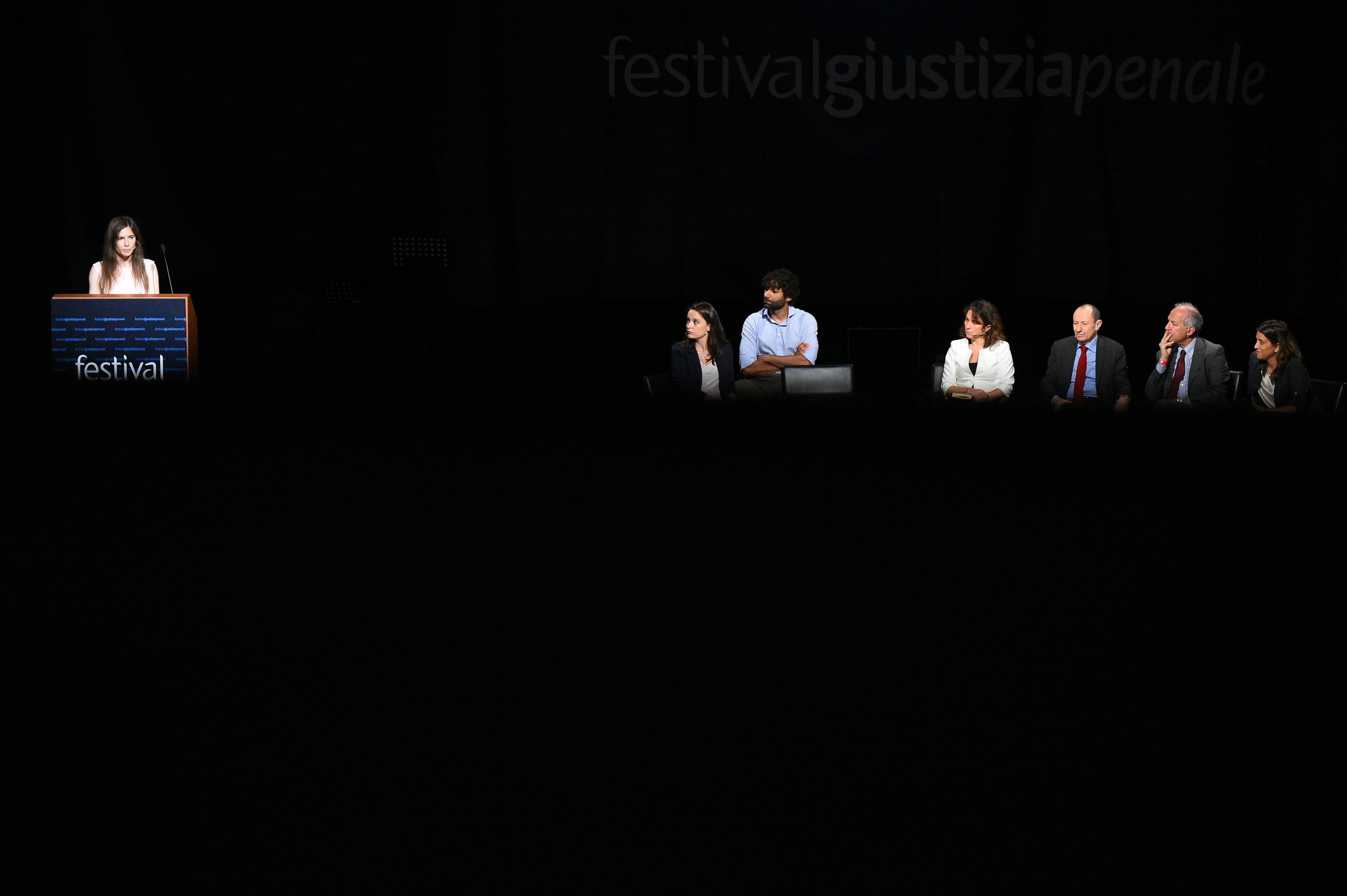 Amanda Knox, who has returned to Italy for the first time since being cleared of the murder of British student Meredith Kercher, speaks at the Criminal Justice Festival in Modena, Italy, June 15, 2019.