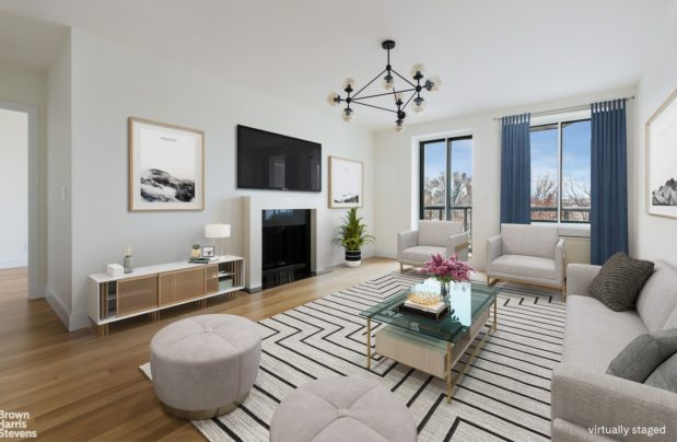 """The same Perry St. apartment """"virtually staged"""" with furnishings added via computer imaging."""