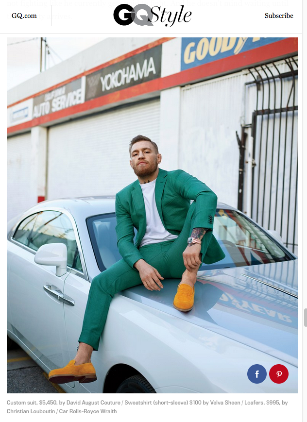Conor McGregor wearing Velva Sheen in the latest issue of GQ style