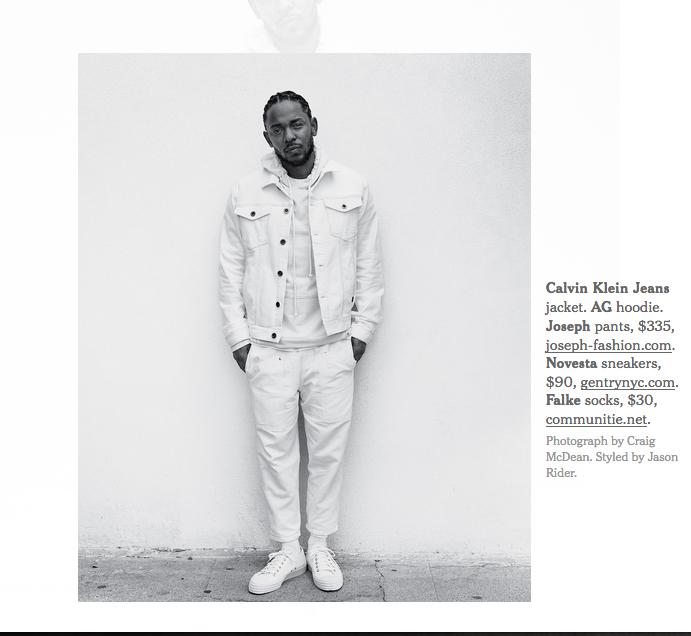 Kendrick Lamar in the New York Times wearing Novesta
