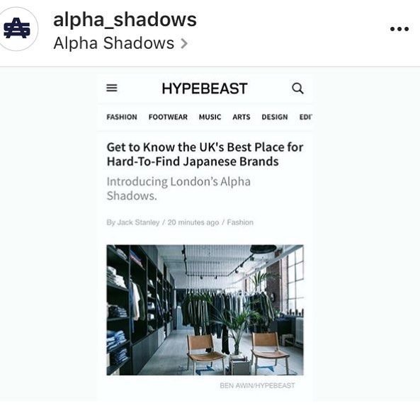 Congrats to our buddy Tom at @alpha_shadows for the fine feature and due praise on @hypebeast ! #sunshineblues season 1 available at Alpha Shadows next season!
