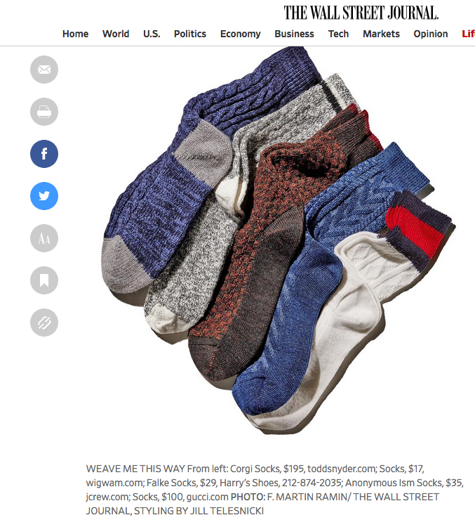AnonymousIsm socks at J. Crew as seen in the Wall Street Journal