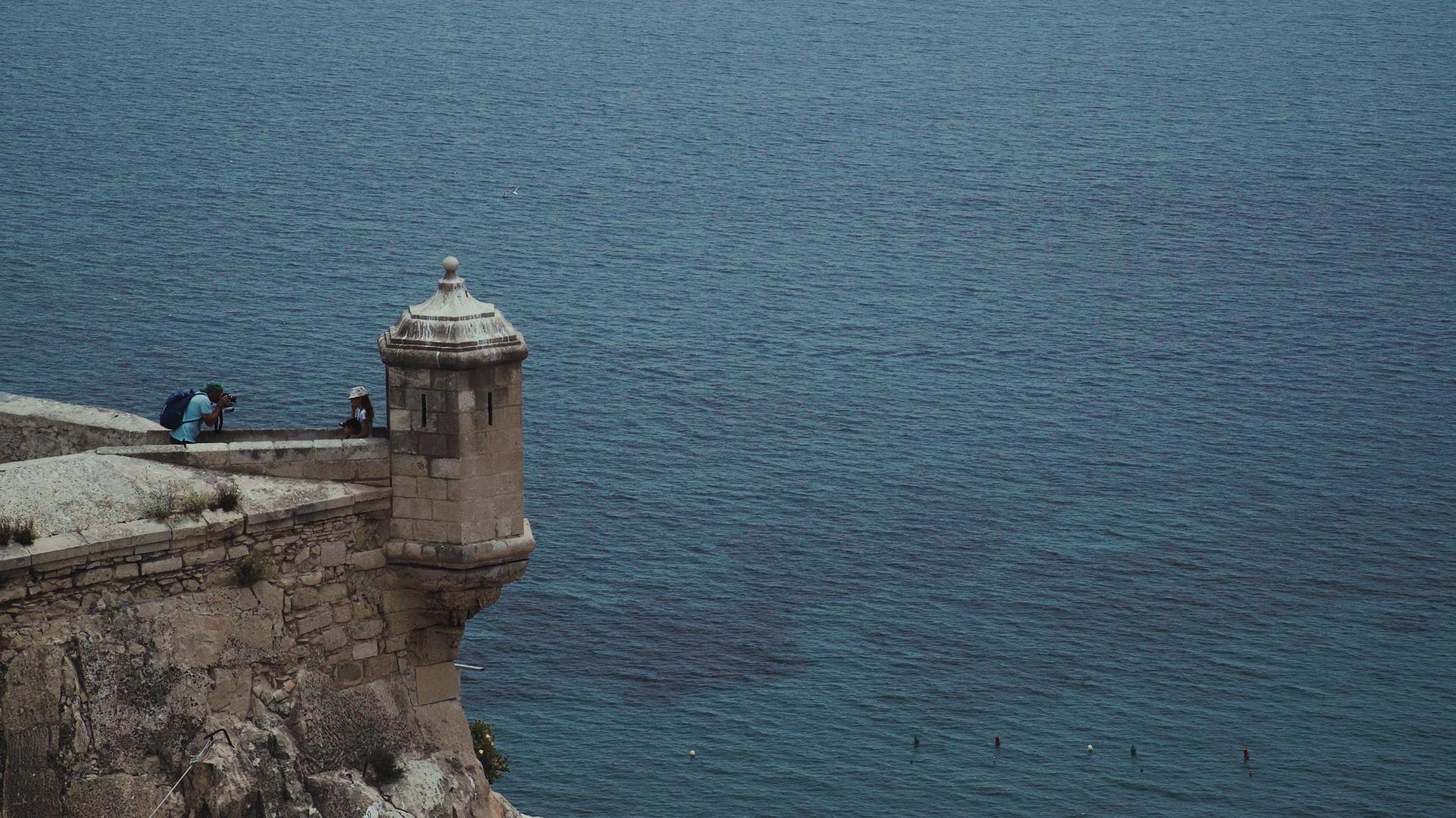 Sea view from the Santa Barbara Castle, Alicante, Spain.