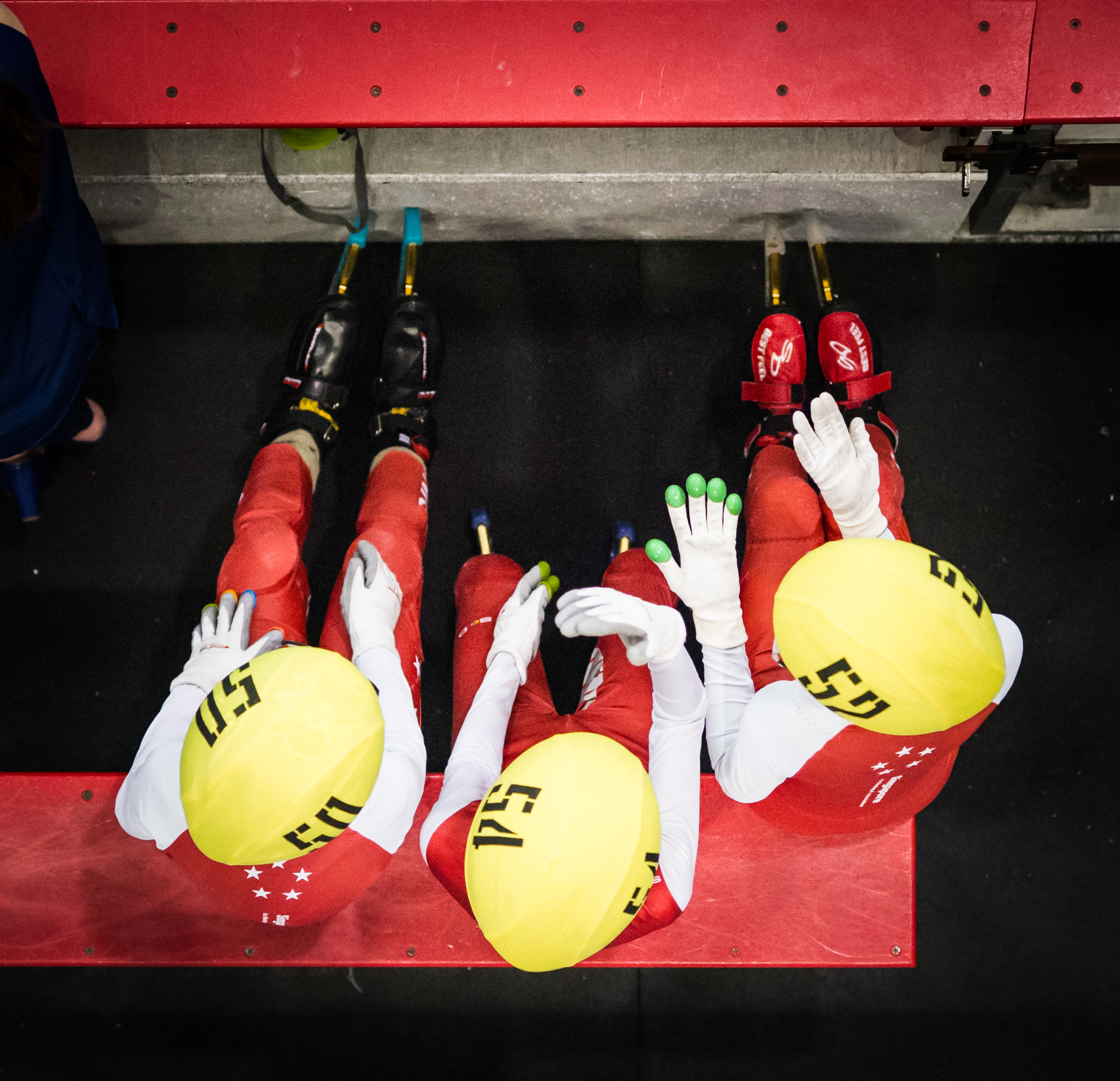 Three Singapore junior skaters talk to each other during the Tri-series SEA cup at the Rink.