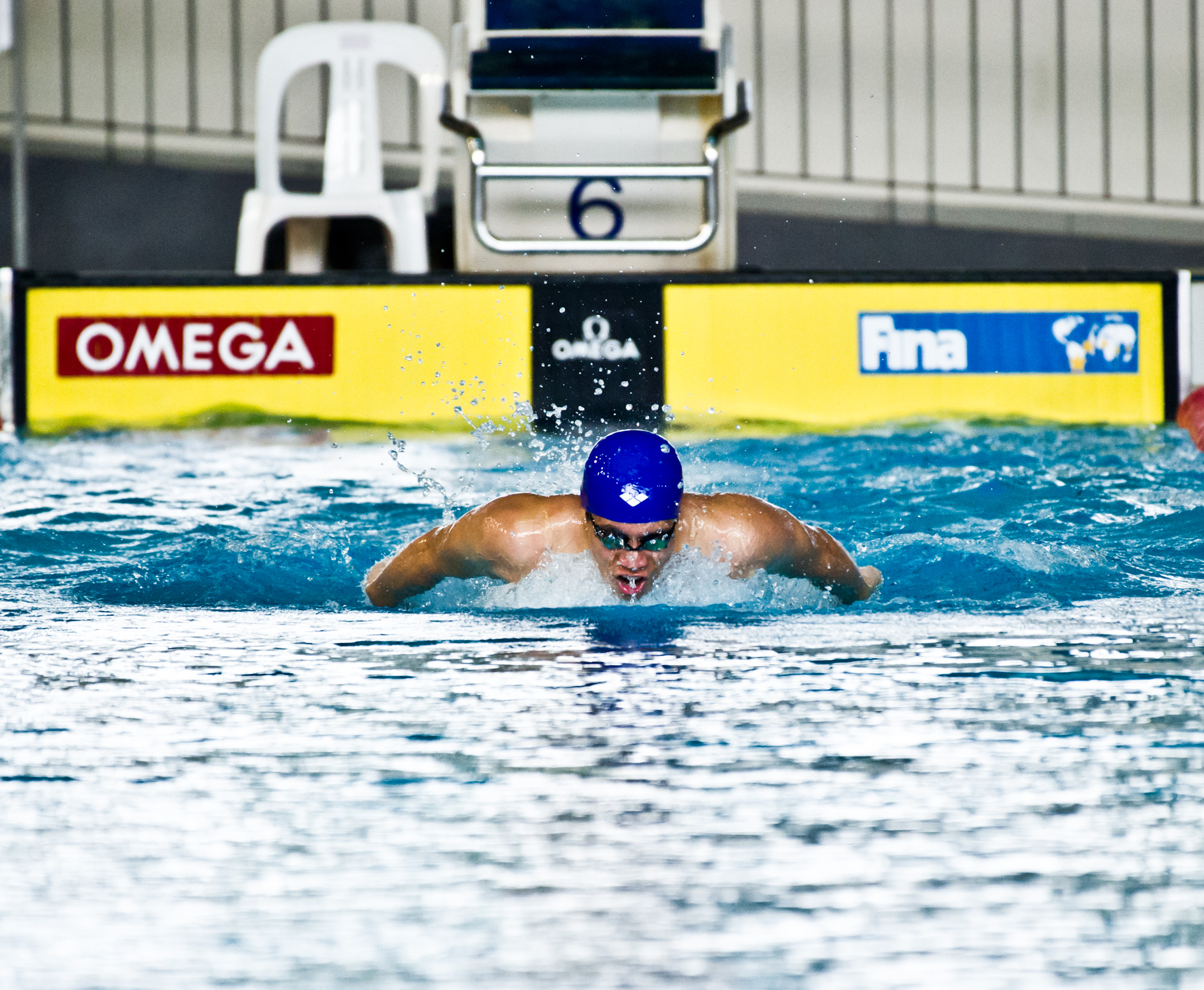 A swimmer in action during the IVP finals at the Singapore Sports School.