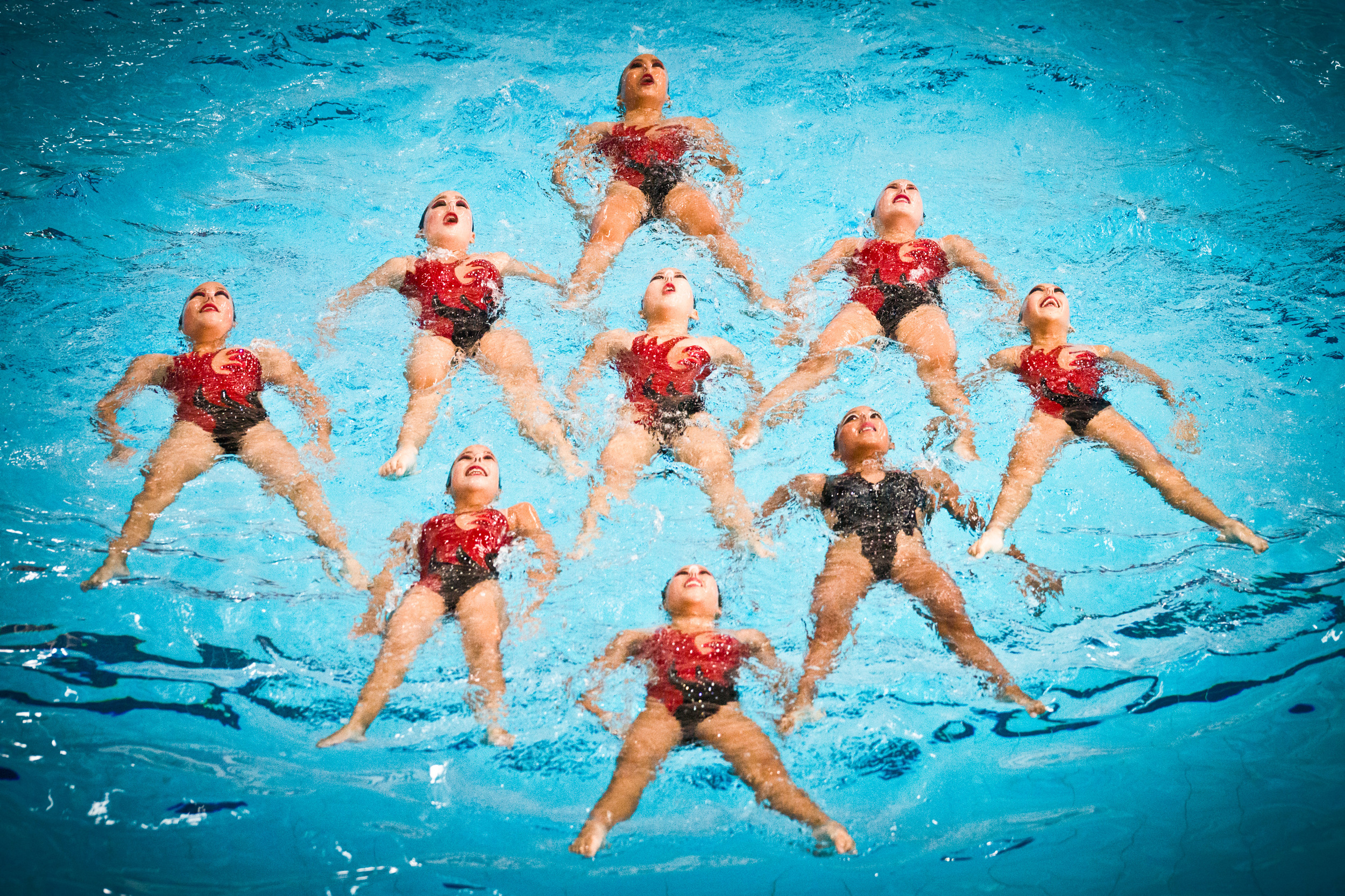 Synchronised swimmers in action during the Singapore Open at the OCBC Aquatic Centre.