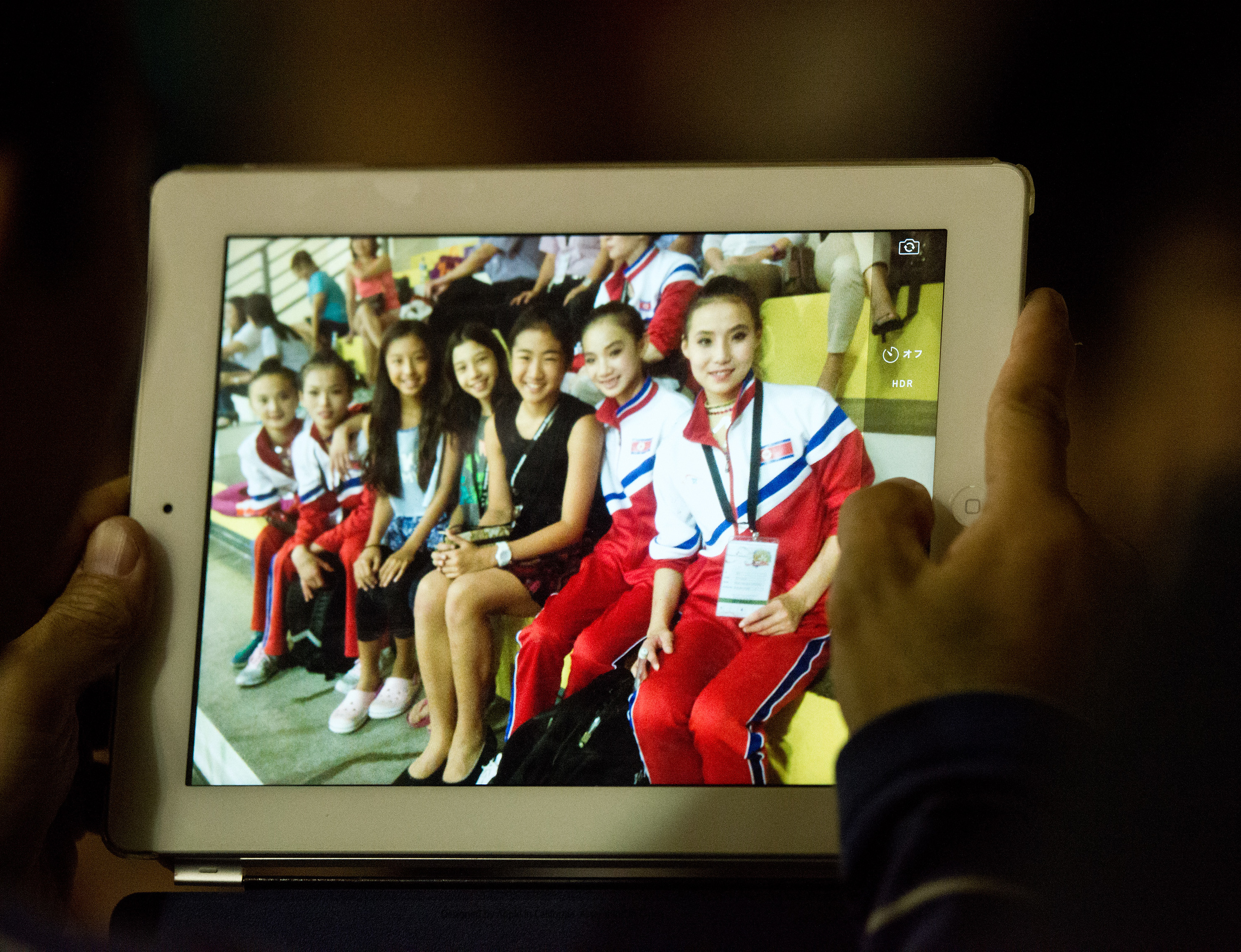 North Korean gymnasts pose for a picture during the Singapore Open at the Bishan Sports Hall.