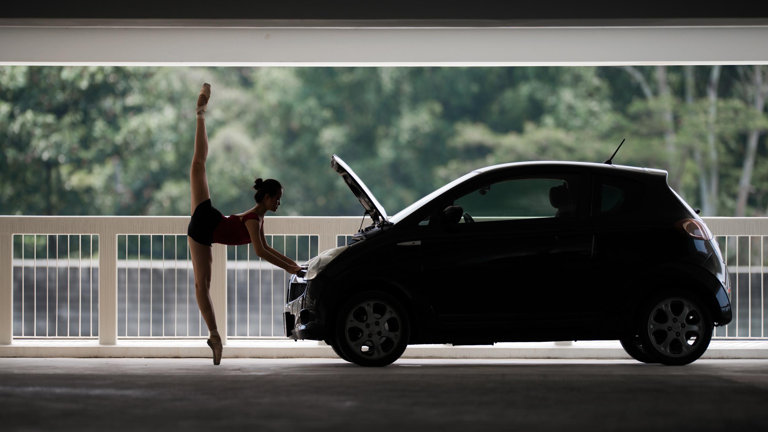 Leane in a car park