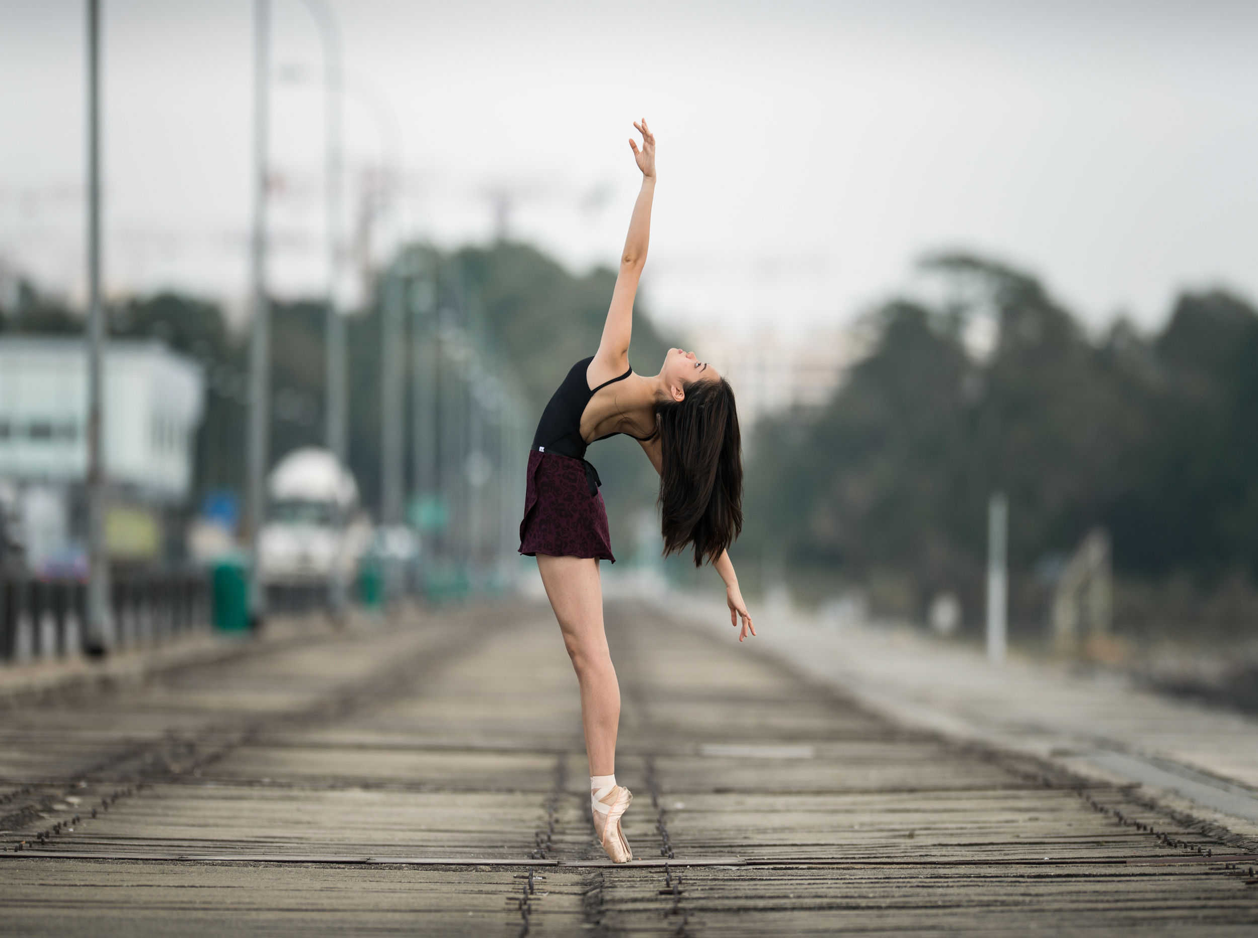 Leane on a bridge
