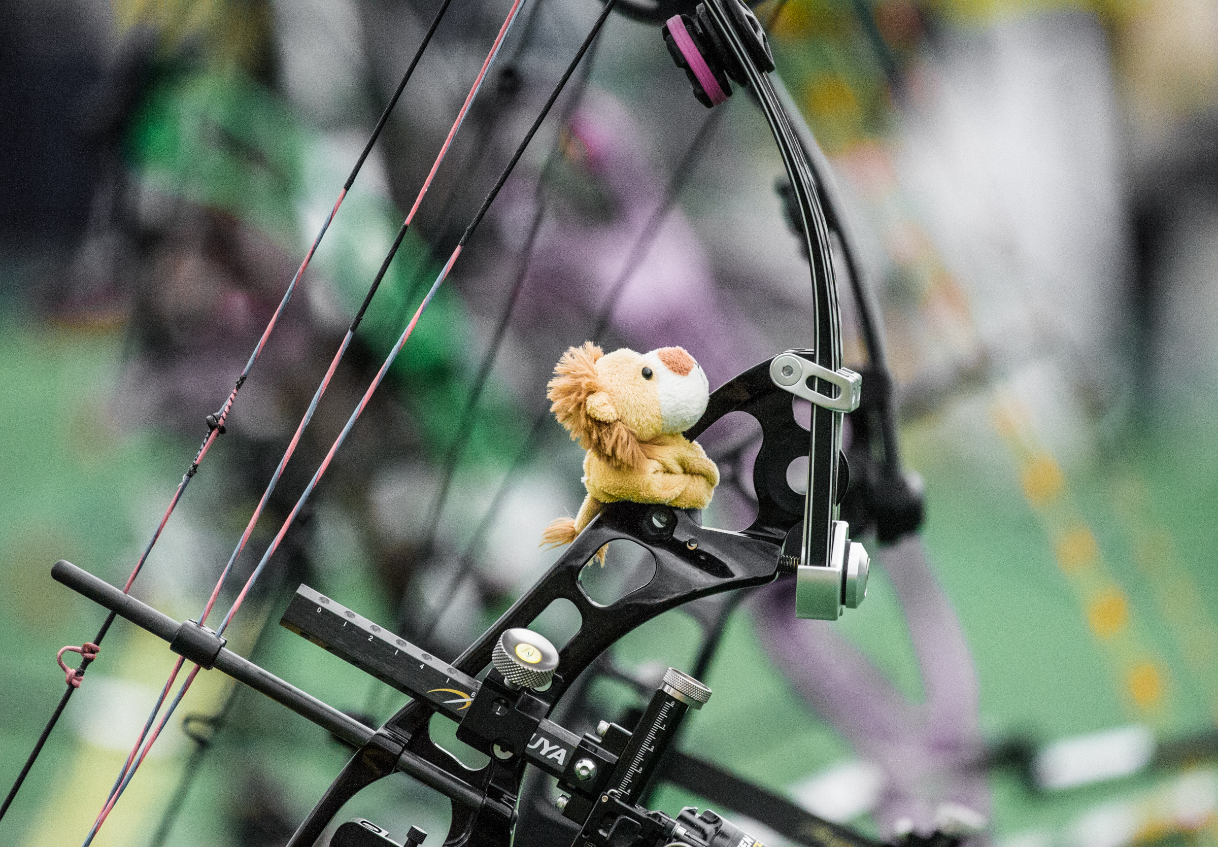 A lion sits on an archer's bow during the archery competition of the ASEAN University Games at the National Institute of Education.