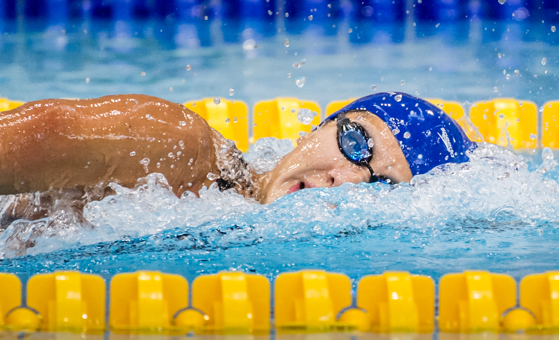 A Singaporean swimmer in action during the swimming competition of the ASEAN University Games at the OCBC Aquatic Centre.