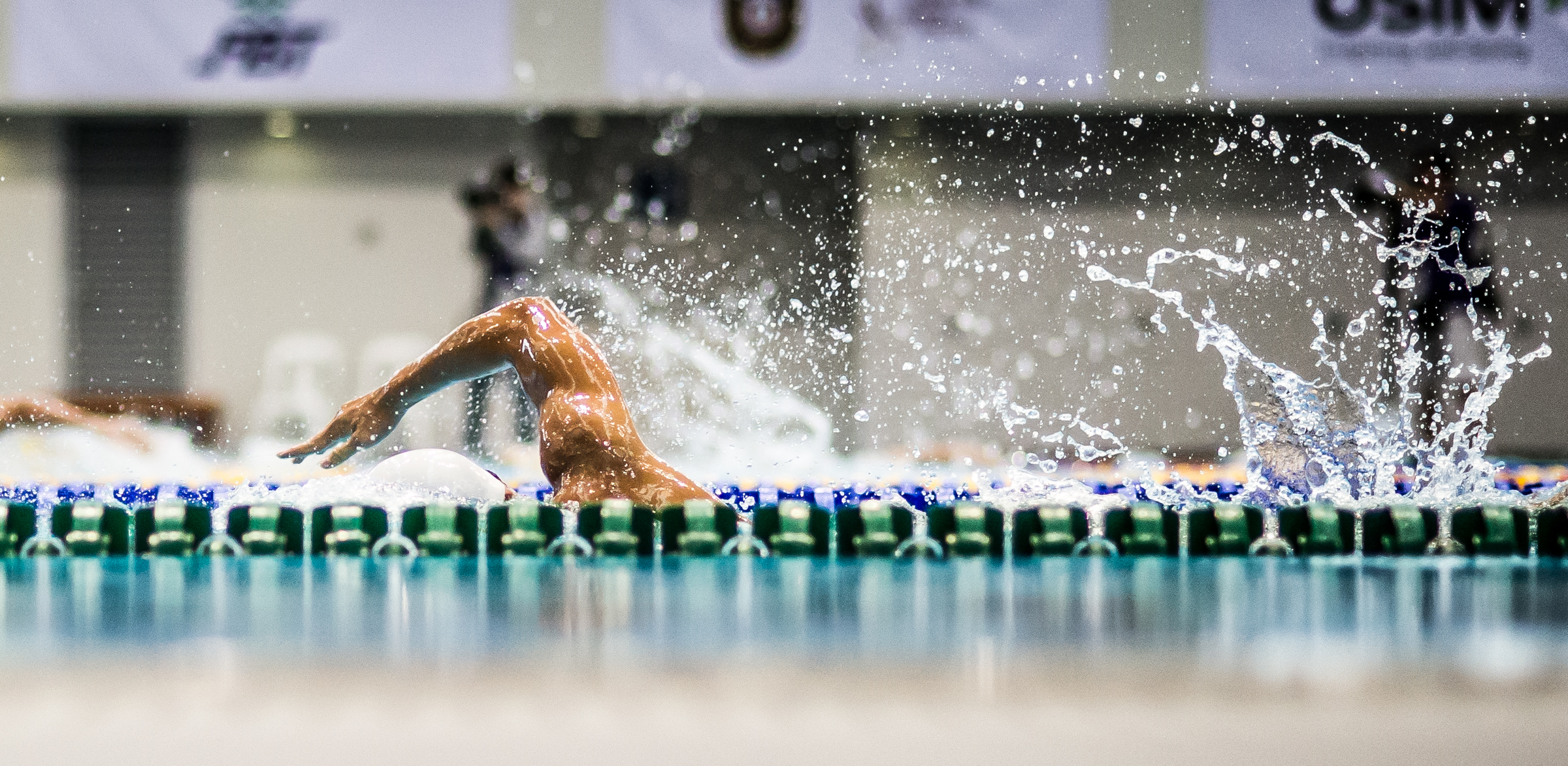 An Indonesian swimmer in action during the swimming competition of the ASEAN University Games at the OCBC Aquatic Centre.