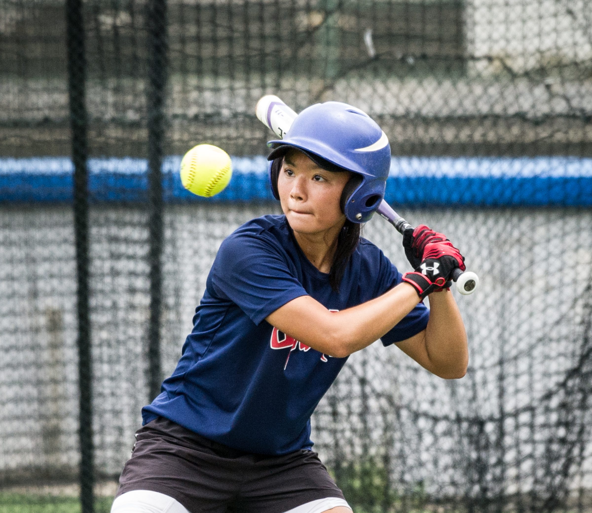 A Singaporean player prepares to hit the ball during the ORA Gryphon Cup slow pitch tournament at Raffles Institution.