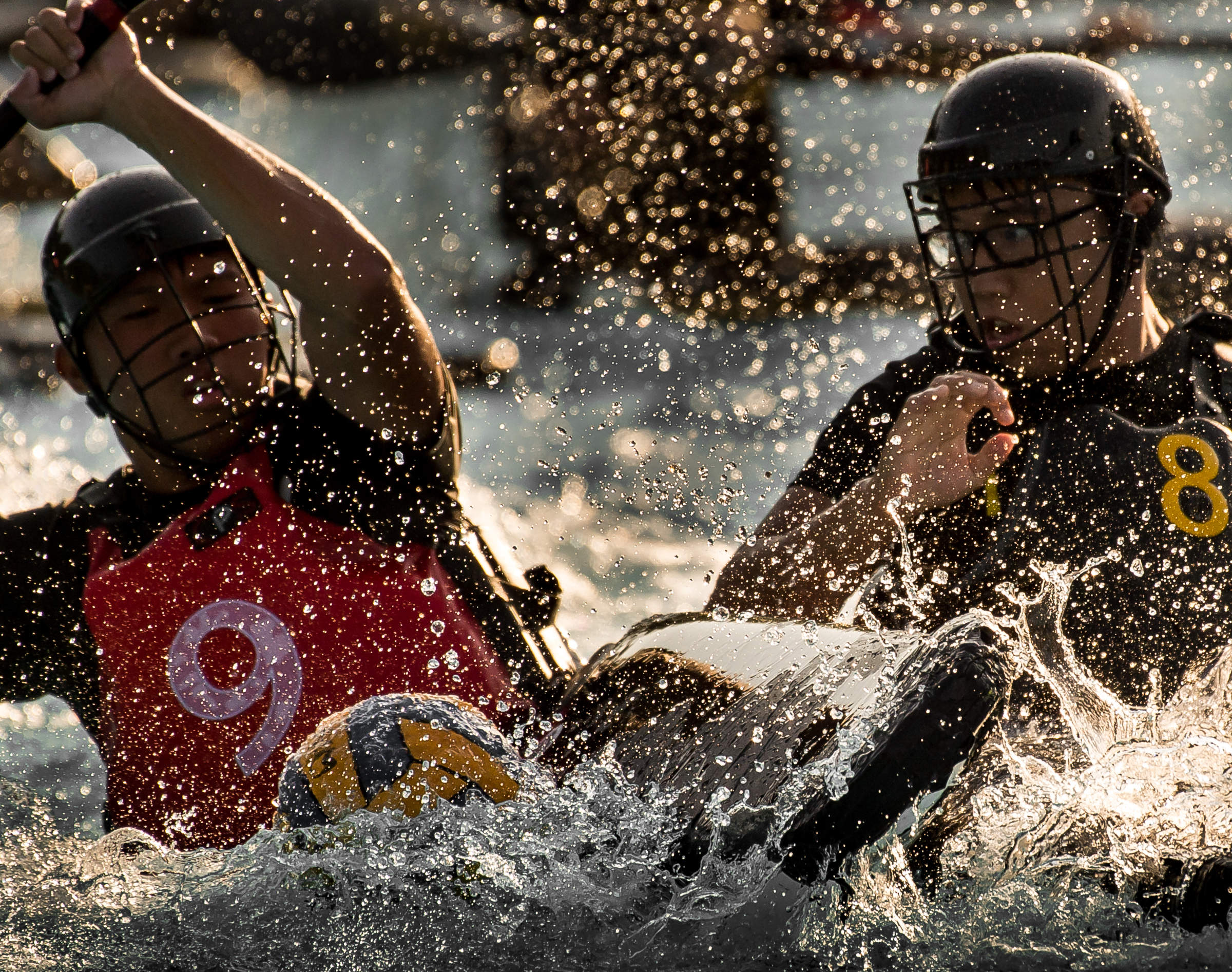 Canoe polo players in action during the Canoe Polo National Championships at Orchid Country Club.