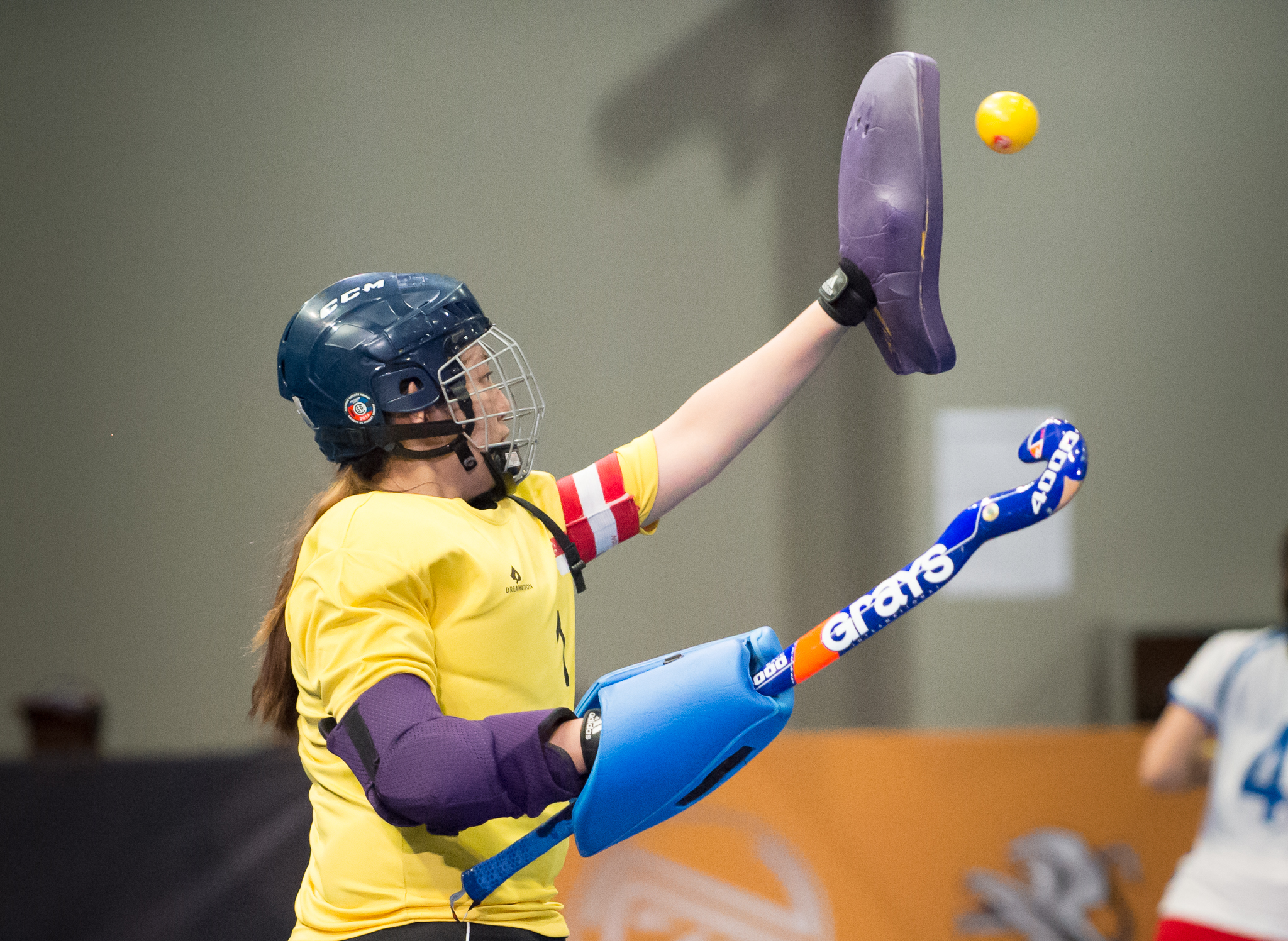 A Singaporean hockey goal keeper prepares to catch the ball during the SEA Games at the Malaysian International Trade and Exhibition Centre.