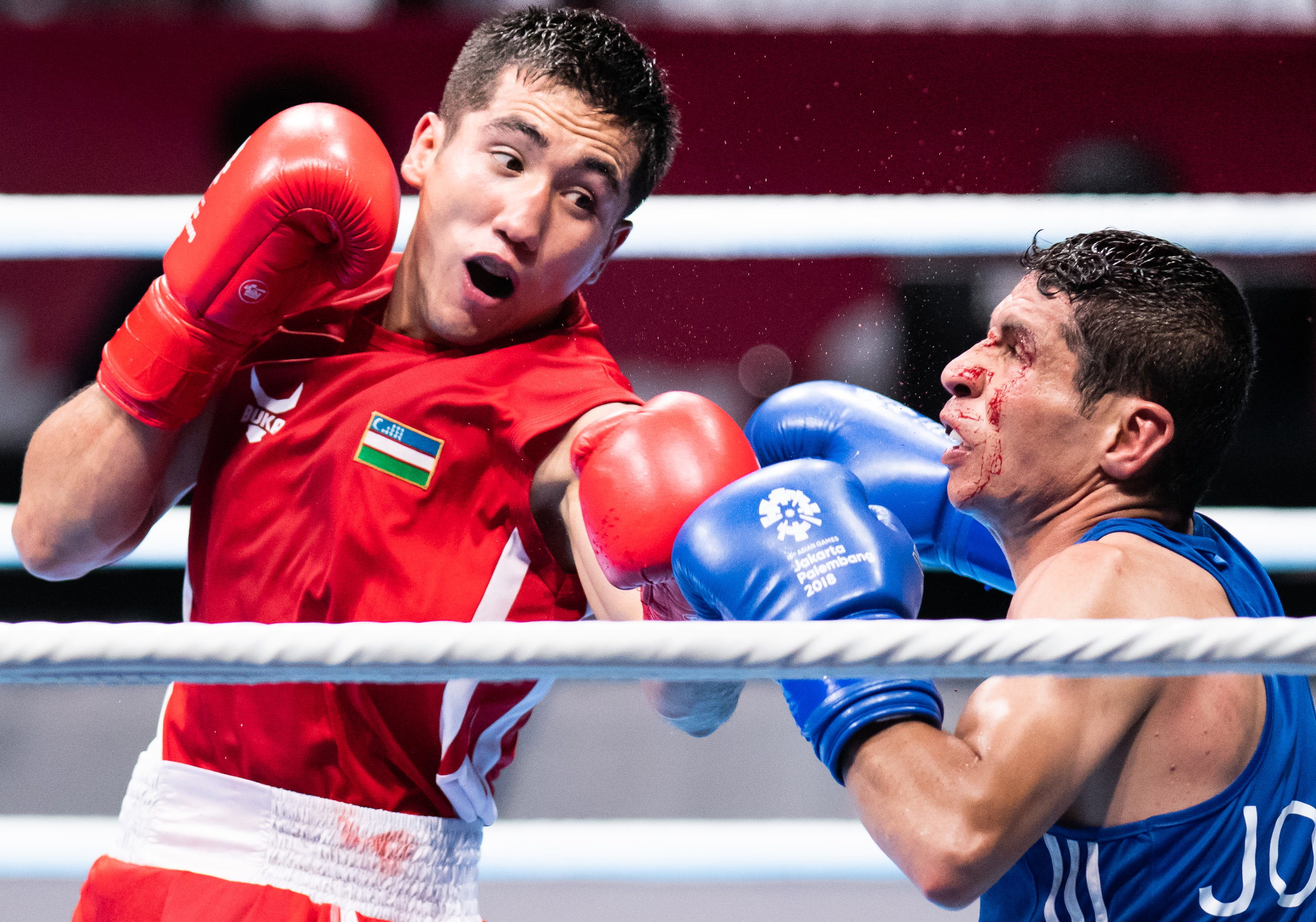 An Uzbek boxer punches his Jordanian opponent during the Bantam Weight match of the Asian Games at the Jakarta International Expo.