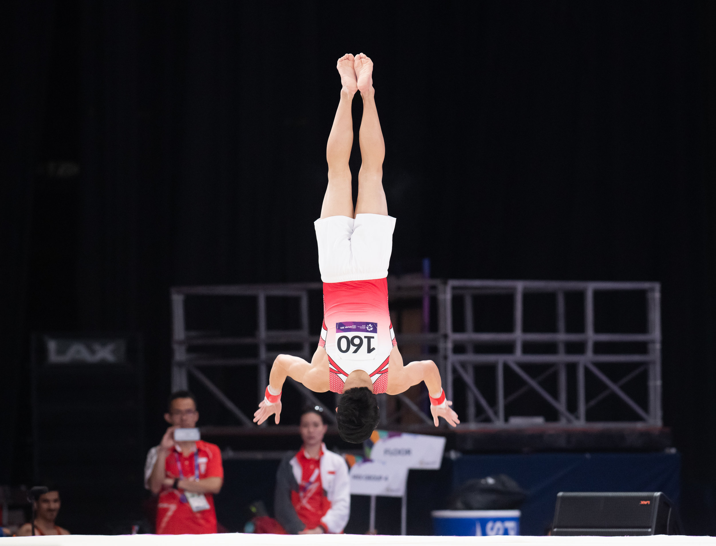 A Singaporean gymnast during the Men's Artistic Gymnastics Qualifiers of the Asian Games at the Jakarta Convention Centre.