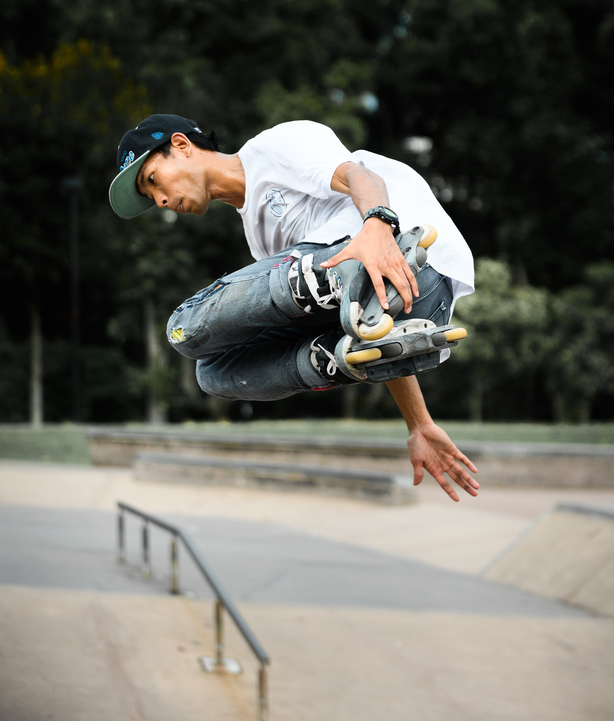 An inline skater spins at the East Coast Skate Park.
