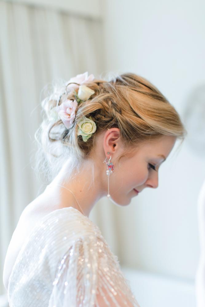 Bridal origami jewellery butterfly pearl earrings