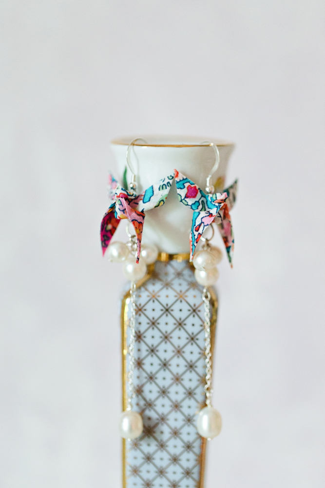 Liberty Print Origami Butterfly and freshwater pearl Earrings