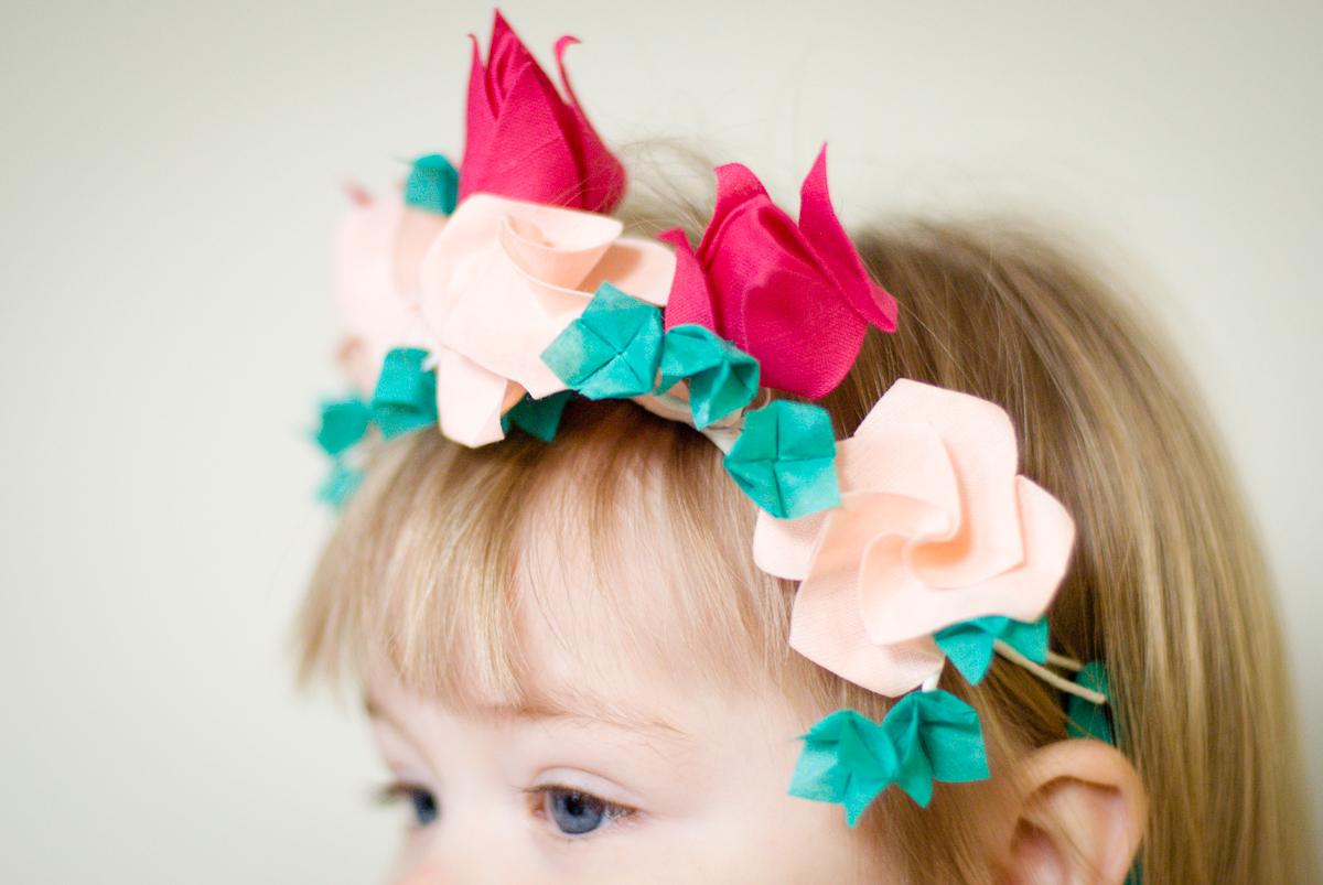 Cotton Origami Flower Crown for Flower Girl