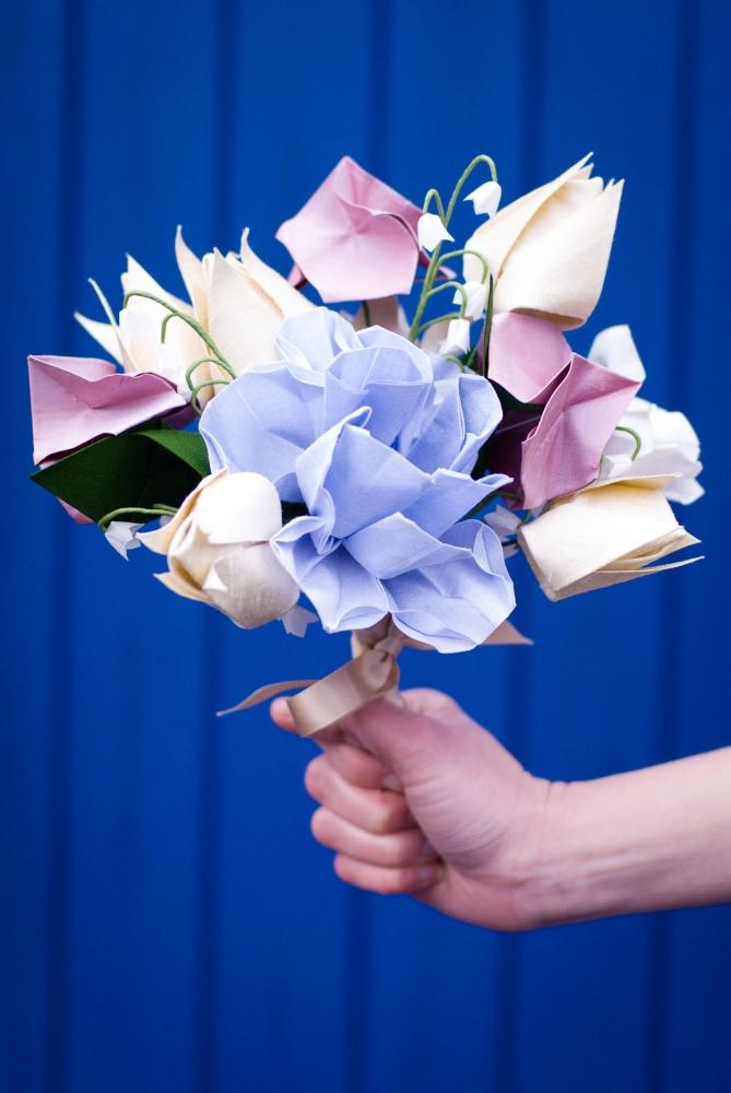 Cotton and Silk Origami Bridal Posy