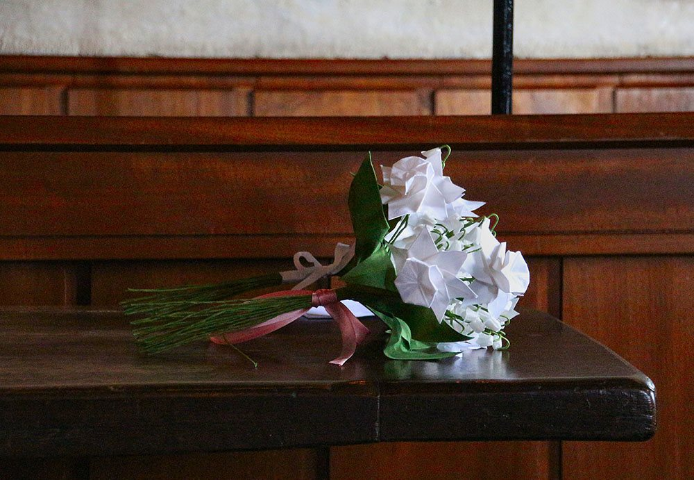 Silk Origami Narcissus and Lily of the Valley Bridal Posy
