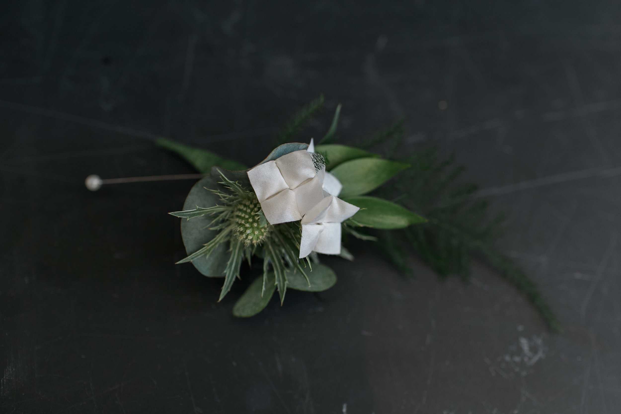 Origami Hydrangea for Grooms Boutoniere Buttonhole