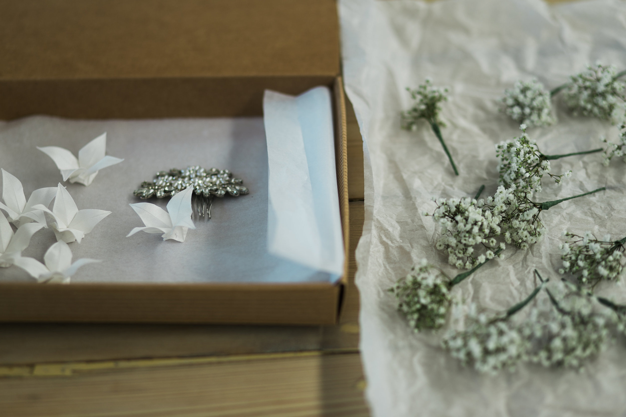 Silk Origami flowers for brides hair