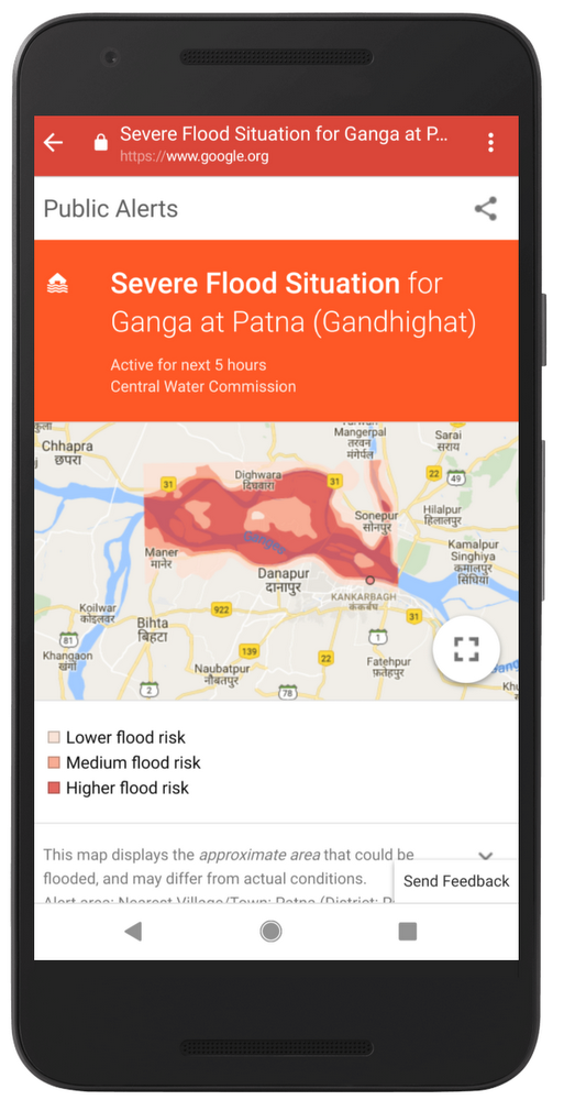 Flood alert shown to users in the Patna region —  Google