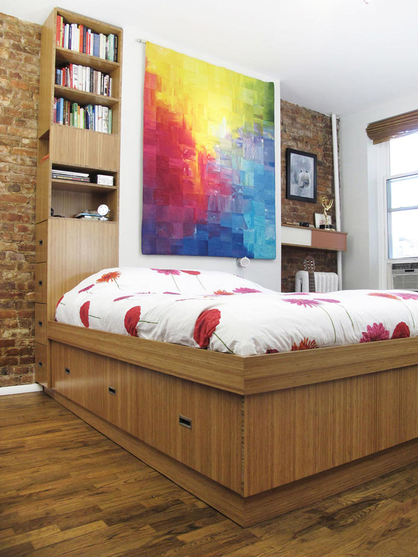 Bamboo bed with storage column around wall bump