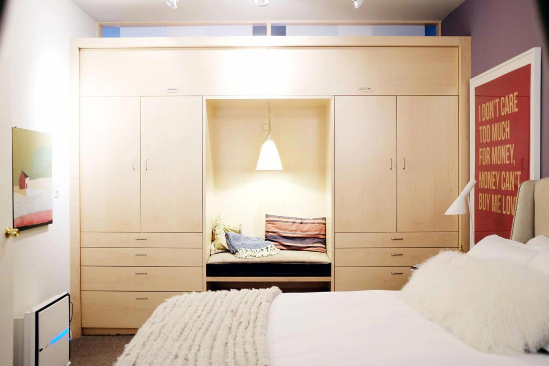 Custom bedroom cabinets with nook