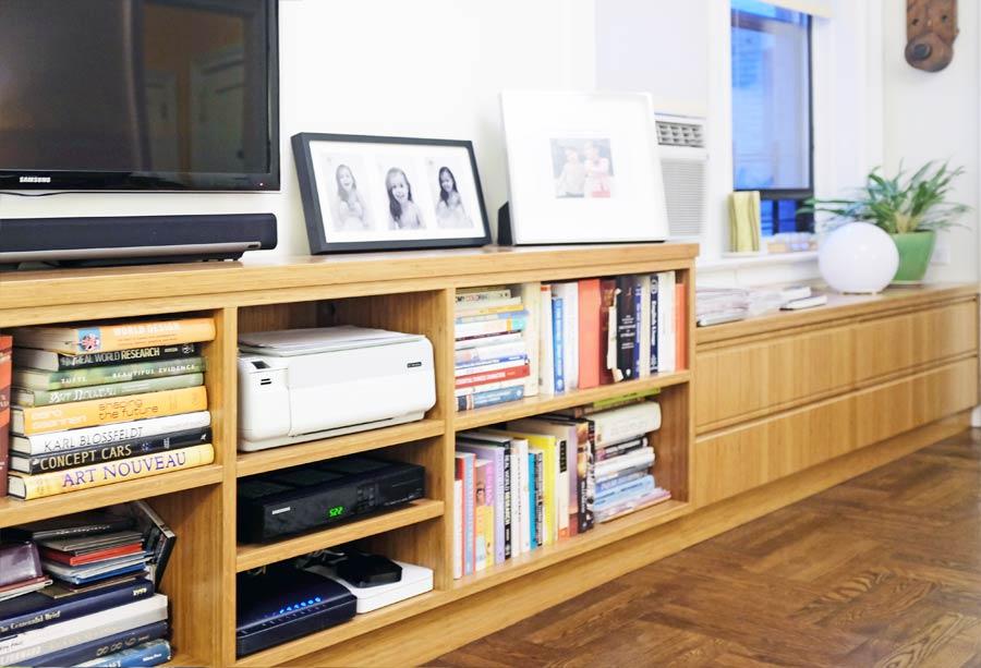 Custom media cabinets and shelves