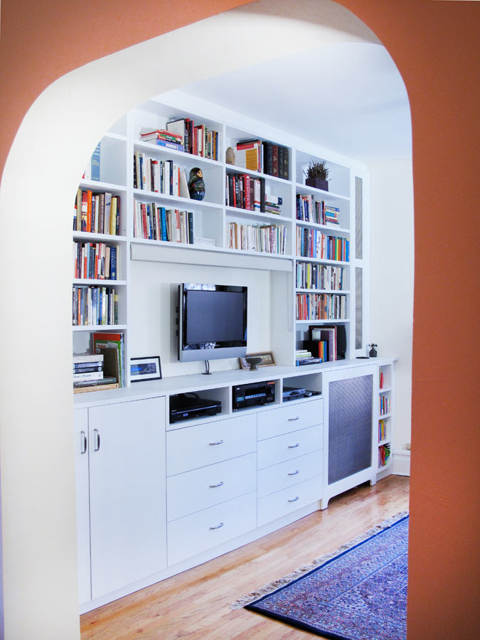 Custom media shelves and cabinets