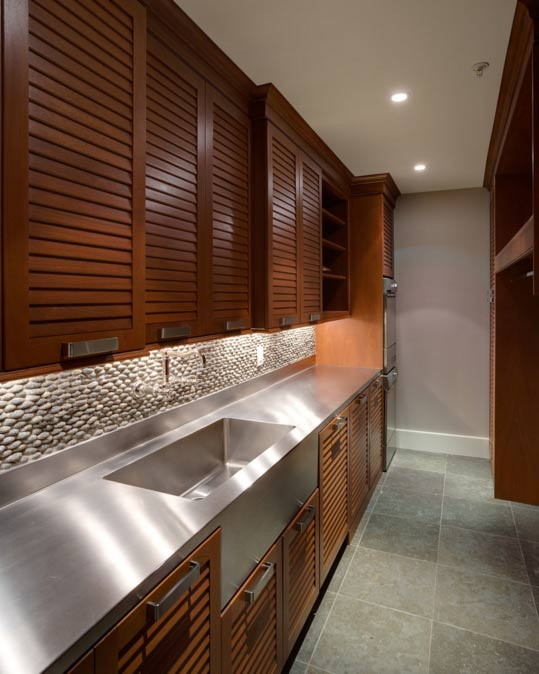 Louvered cabinet doors- Photo by Georgetown Development