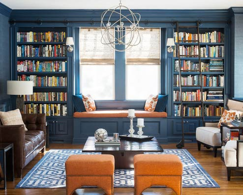 Window seat with built-in bookcases-Photo by Red Ranch Studios