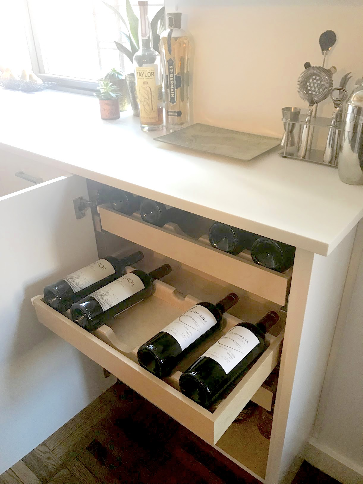Pull-out under-counter wine storage cabinet