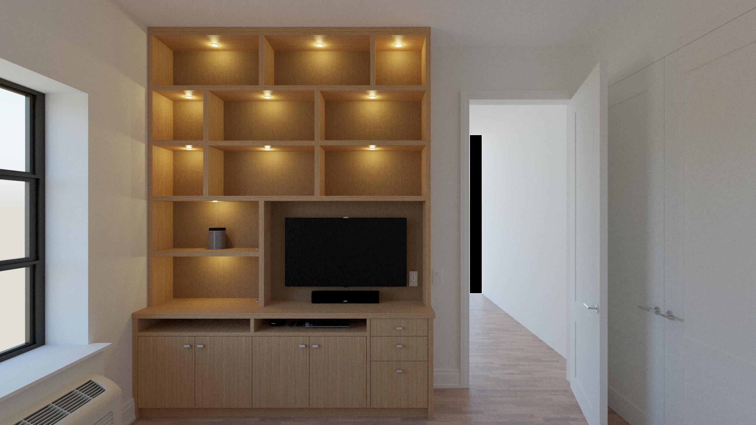 Floor-to-ceiling media unit -