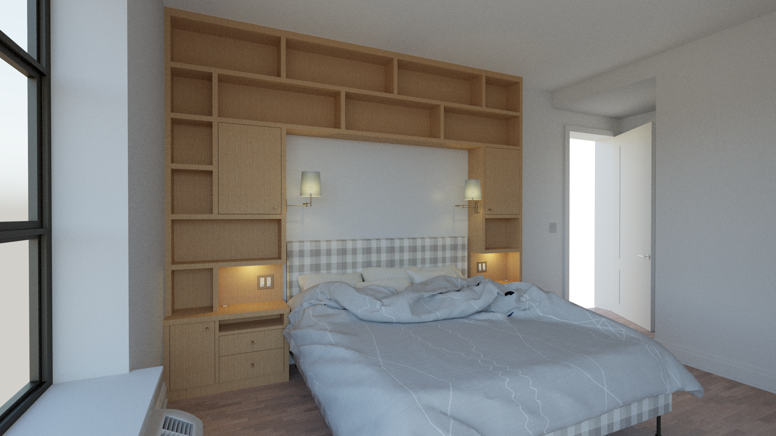 Floor-to ceiling bed surround - Shelving and storage to be built on wall around bed