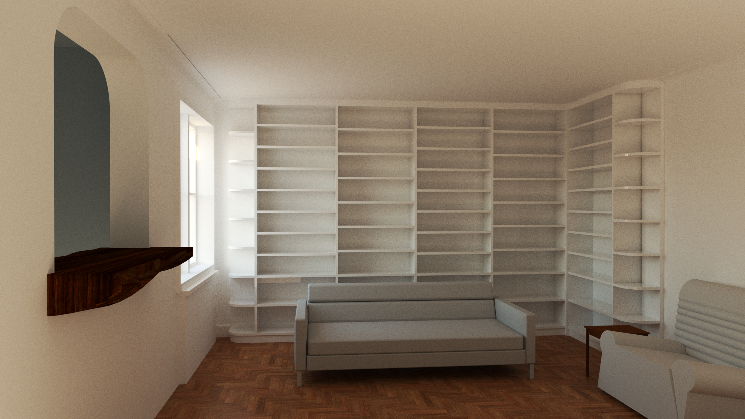 Floor-to-ceilingbookshelves - All open shelving for simple bookshelves